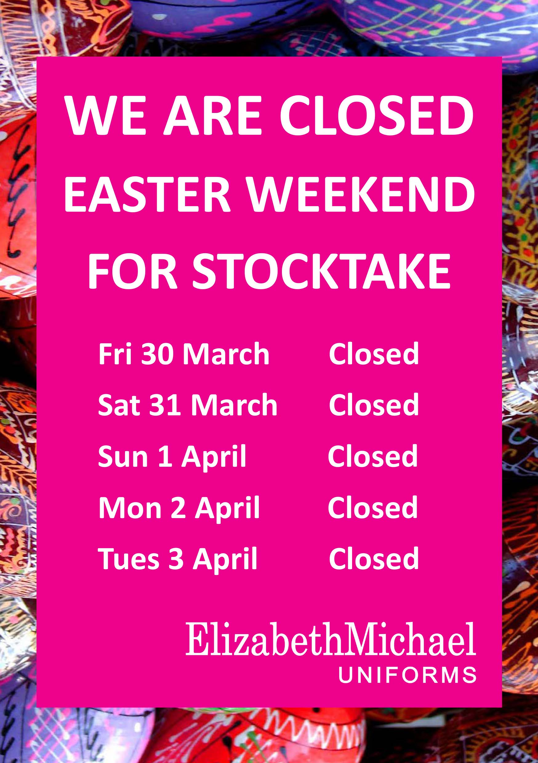 16-03-2018 - Easter closed